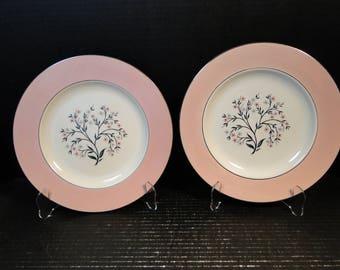 """TWO Homer Laughlin Cavalier Springtime Dinner Plates 10 1/4"""" CV32 Pink Set of 2 EXCELLENT!"""