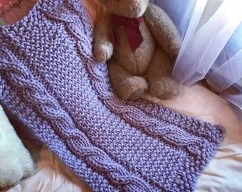 Baby pram blanket or Snuggle rug - handknit