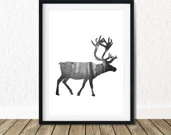 Prints Animal Forest, Christmas Deer Decor, Forest Decor Nursery, Printable Forest Art, Nursery Forest Print, Forest Art Nursery