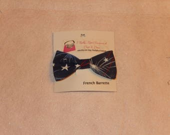 Small Blue Patriotic Fireworks French Barrette Hair Bow