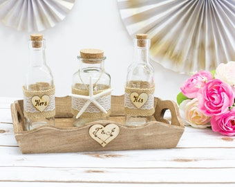 Beach Wedding Sand Unity Jars  Ceremony Set Nautical wedding Starfish Jars Personalized Unity Sand Jars nautical Wedding Rustic decoration