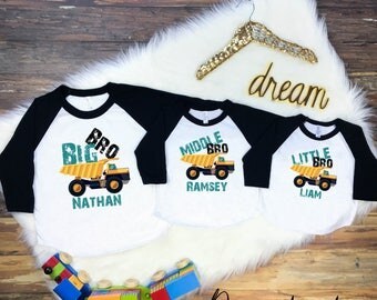 Big Brother Middle Brother Little Brother Shirt Set, Big Brother Little Brother Shirts, Sibling Raglan Shirt Set, Dump Truck Sibling Shirts