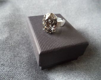 Large silver plated Adjustable ring with Swarovski Black Patina
