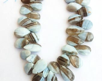 "1 Strand Natural Peru Opal 12-13mm  Faceted Flat Pear shape Gemstone Beads 8"" long strand By SHAMSHAD GEMS"