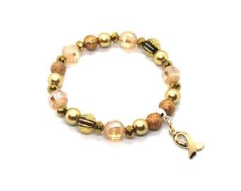 Gold Awareness Bracelet - Childhood Cancer - Pediatric Cancer - Childhood Cancer Awareness - Childhood Cancer Survior Bracelet