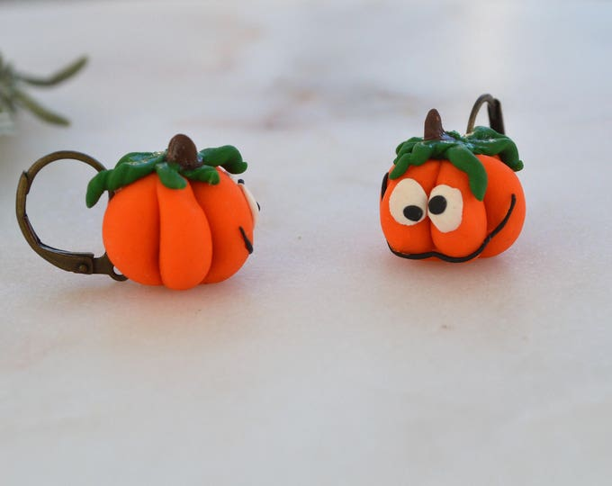 Original Halloween gift. Cute gift for her. Polymer clay earrings.Polymer clay jewelry. Adorable jewellery. Little Pumpkin. Food jewellery