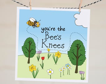 You're the Bees Knees Card | Thank You Card | Funny Valentine's Day Card | Bee Card | Thinking of You Card | Funny Thank You | Grateful Card