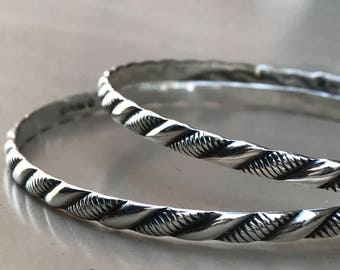 Classic pair of woven/rope sterling silver stacking bangle bracelets