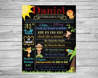 Safari, Jungle, Party Decorations, Safari Birthday, Jungle Chalkboard, 2nd Birthday Safari Birthday Poster, Safari Theme Party, Jungle Decor