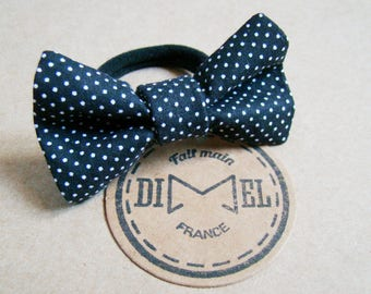 Bow tie on elastic woman girl hair black mini polka dots