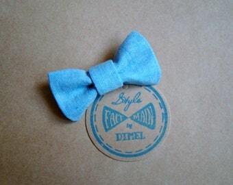 girl woman chambray bow hair clip