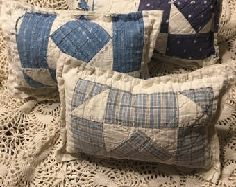 Tattered Quilted Pillow/ Quilted Posing Pillow/ Blue Boy Quilt Posing Pillow