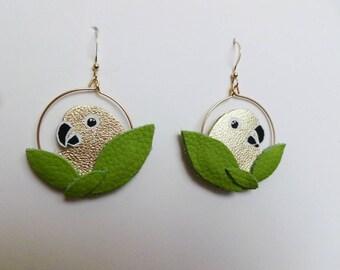 "Earrings Creole parakeets ""Plumille"""