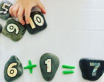 Jumbo sized number stones, math sensory counting manipulative