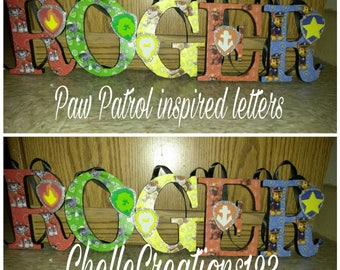 SALE!!!Paw Patrol Inspired 5in Wooden letters (48 HOUR SALE))