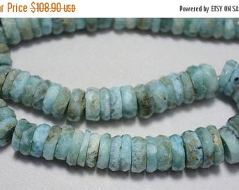 ON SALE 50% Larimar Gemstone Heishi Beads, Larimar Faceted Spacer Beads,Cut Tyre Beads, 6mm - 13mm, 8 Inches Strand