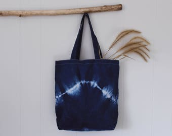 Hand Dyed Shibori Canvas Tote    Wave Collection