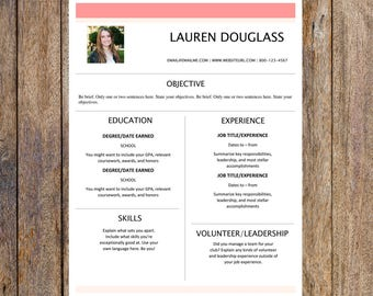 Bartending Resume Skills Word One Page Resume  Etsy Lmsw Resume with Office Admin Resume Word Feminine One Page Resume Template  Creative Resume Resume Template Word  Resume Design  To Build A Resume Pdf