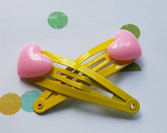 Girls hair clips - pink hearts on yellow clips 2pk