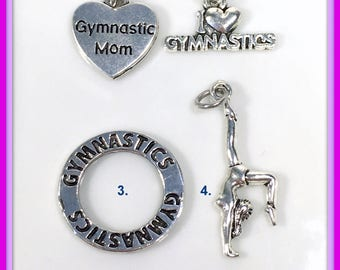 Gymnastic Charm, Your choice of Gymnastic's Charm, I love Gymnastics, Gymastic Mom Affinity circle Add on to any listing  1 Silver Pendant