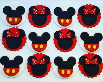 12 x  Mouse party Fondant Cupcake Toppers