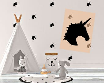 Wall decal Unicorn Vinyl Stickers Black White