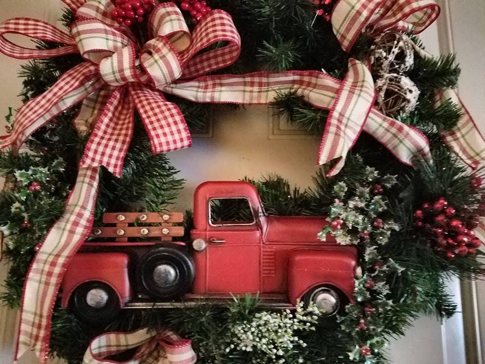 Rustic Christmas Wreath Red Truck Christmas Wreath Country