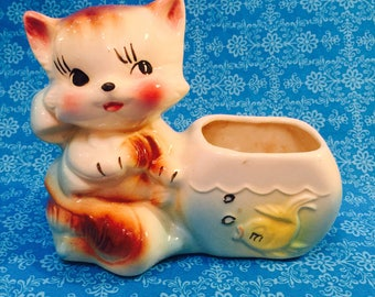 American Bisque Anthropomorphic Kitten with a Fishbowl Planter made in America circa 1950s
