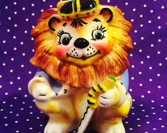 Relpo Anthropomorphic Lion King Planter  made in Japan circa 1950s