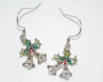 Silver Christmas Bells with Holly