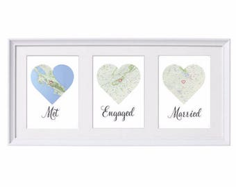 DIGITAL PDF DOWNLOAD Met, Engaged, Married Personalised map love story Engagement / Anniversary / Wedding gift for Couples / gift for couple