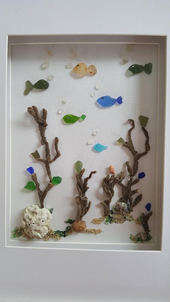 Glass Decor On Wall : Sea glass art framed bathroom wall decor costal