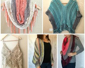 Crochet PATTERN BUNDLE - Crochet Scarf Pattern - Crochet Top Pattern - Crochet Sweater Pattern -Crochet Poncho Pattern