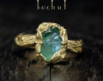 """Apatite ring, apatite crystal ring, raw apatite ring. Blue apatite ring """"The source of life"""" from Kochut collection."""