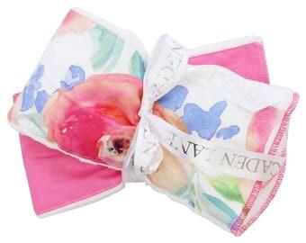 Bright Summer Blooms  Pink and Aqua, Bright, Floral Baby Burp Set