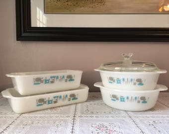 Vintage Fire King Blue Heaven baking and casserole set