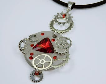 Necklace Glamour Steampunk-rhinestones in red concrete jewelry on black silk ribbon silver-colored gears gear Concrete Jewelry