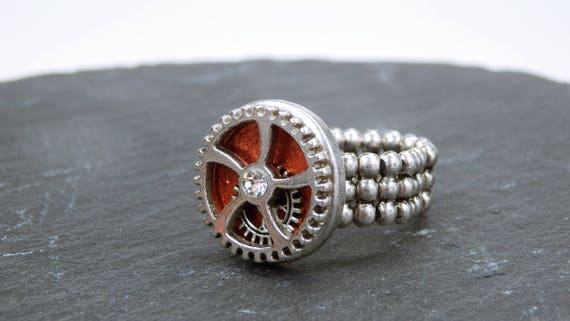 Ring gear steampunk ring with silvery gear and clear rhinestones stone copper-rusty steampunk gears with elastic ring ribbon