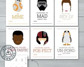Kids Valentine Cards  |  Star Wars Valentines  |  Rey, BB8, Finn, Poe, Kylo Wren, Porg  |  Last Jedi - The Force Awakens | Instant Download