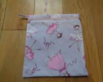 Sandwich bag - Eco - Snack - Bikini Bag - Lunch Bag - Make Up - Beauty Bag - Large Poppins Waterproof Lined Zip Pouch -  Ballet Ballerina