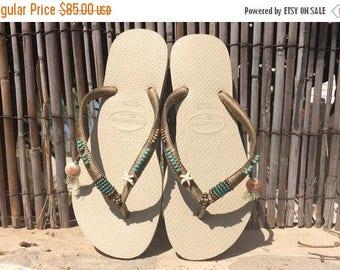 SALE Havaianas Flip Flops, Sandals, Havaianas Gold, Women Shoes, Boho Style Flip Flops, Flat Shoes, Beach Sandals, Boho Sandals, Festival