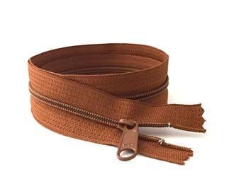 """YKK Zipper / BROWN Zipper / Dress Zipper / 16"""" Long Pull Zipper / 9""""zipper / Long Pull Zipper / Handbag Zipper / Closed End Zipper"""