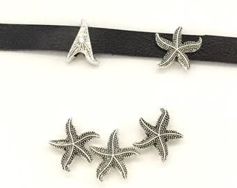 5 STARFISH Slider Beads / Slide Beads / Bracelet Bead / Slider Charm / Beads for Leather / Flat Leather Beads / Leather Charm / Slide Beads