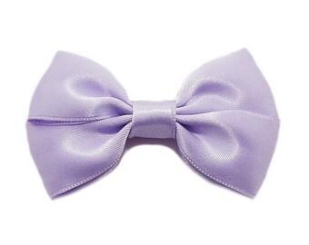 Purple Satin ribbon bow brooch.