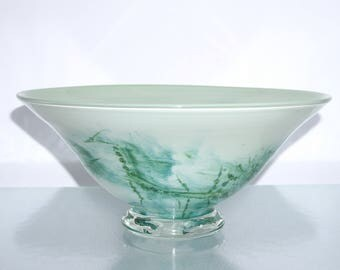 Vintage Green Art Glass Bowl