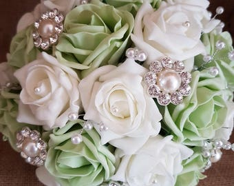 Wedding Flowers, Roses, Ivory and Green, Wedding Bouquet, Foam Roses, Artificials, Brooch Bouquet, Pearls
