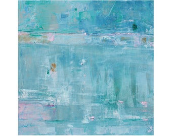 Watery blues Original Abstract Oil Painting turquoise contemporary 12 x 12 square art Dallas artist Paul Ashby MCM