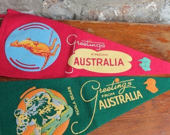 2 Vintage Australian Felt Pennant Flags Greetings from Australia Koala Kangaroo Souvenir