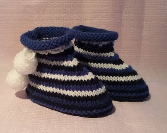 Baby booties tricolor wool knitted baby size 6/12 months