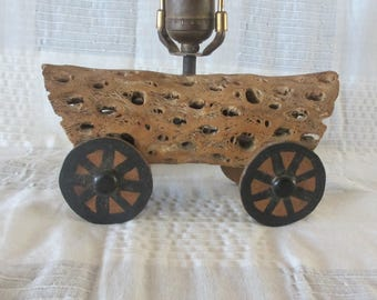 Cholla Cactus covered wagon lamp light 1950's vintage